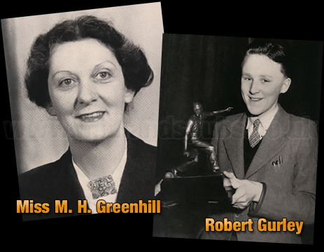 Mitchell's & Butler's : Welfare Supervisor Miss M. H. Greenhill and Robert Gurley with the Henry A. Butler Trophy [1953]