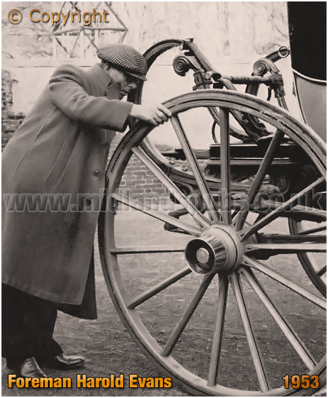 Mitchell's & Butler's : Foreman Harold Evans inspects a wheel with an expert eye [1953]