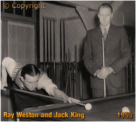 Mitchell's & Butler's : Ray Weston in action with Jack King during the Social Club Billiards Final [1953]