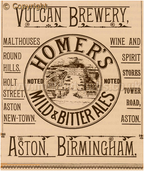 Advertisement for the Vulcan Brewery owned by Alfred Homer