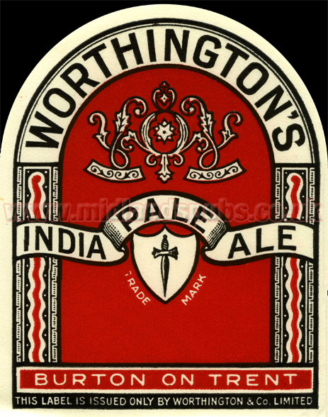 Worthington's India Pale Ale Beer Label