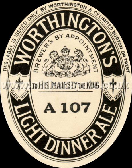 Worthington's Light Dinner Ale Beer Label