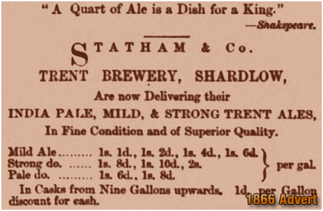 Shardlow : Advertisement for Statham & Co. of the Trent Brewery [1866]