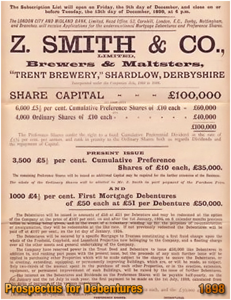Shardlow : Prospectus for Debentures of Z. Smith & Co. Ltd. of the Trent Brewery [1898]