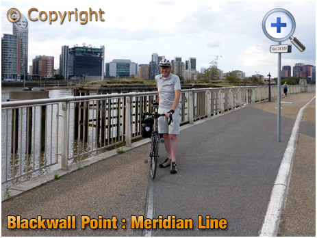 London : Meridian Line at Blackwall Point near the O2 Arena at Greenwich