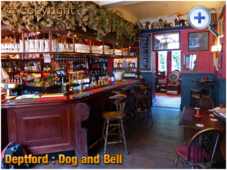 London : Interior of The Dog and Bell on Prince Street at Deptford