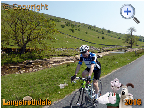 Cyclist riding along Langstrothdale in the Yorkshire Dales [2016]
