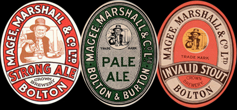 Beer Labels of Magee Marshall & Company Ltd. of Bolton in Lancashire