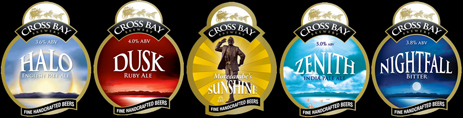 Pump Clips of the Cross Bay Brewery of Morecambe