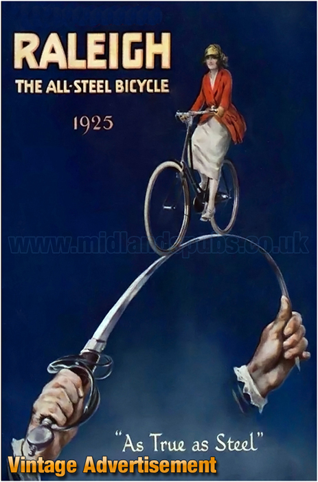 Advertisement for Raleigh All Steel Bicycles of 1925