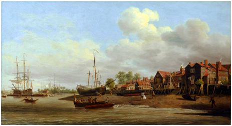 """""""A Morning, with a View of Cuckold's Point"""" by Samuel Scott [c.1750-60] courtesy of the Tate Gallery"""
