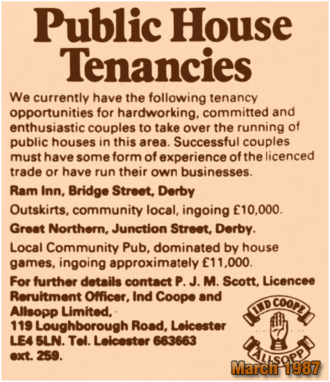 Derby : Advertisement for the Pub Tenancy of the Great Northern Inn [1987]