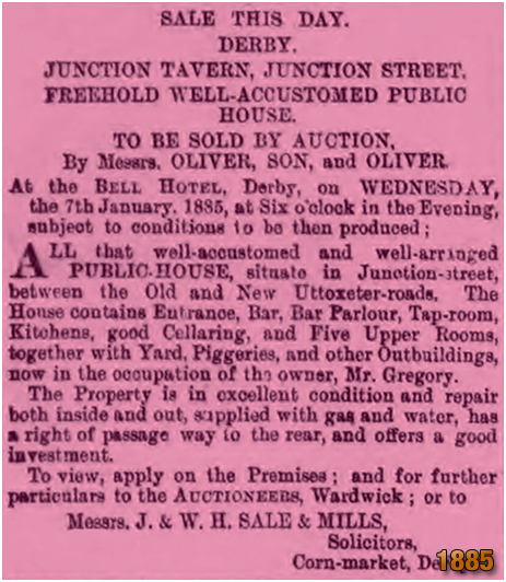 Derby : Sale of the Junction Tavern [1885]