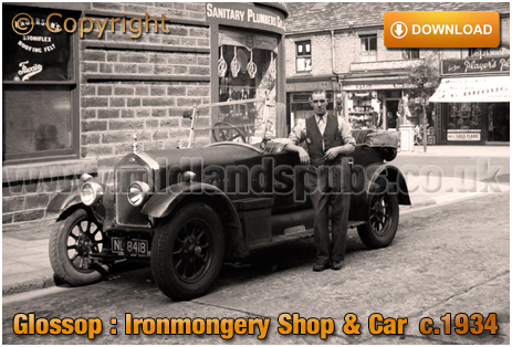 Glossop : Oliver & Sons Ironmongers with Old Automobile in Church Street with Shops on High Street West [c.1934]