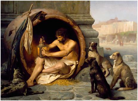 Diogenes Sitting in his Tub by Jean-Léon Géröme [1860]