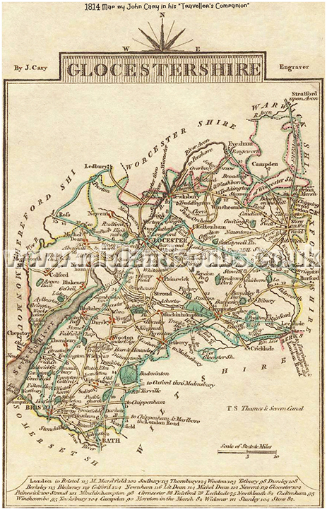 "1814 Map of Gloucestershire by John Cary in his ""Traveller's Companion"""