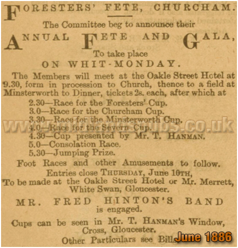 Annual Fete and Gala at the Oakle Street Hotel at Churcham in Gloucestershire [1886]