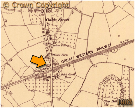 Map showing the location of the Oakle Street Hotel at Churcham in Gloucestershire [1903]