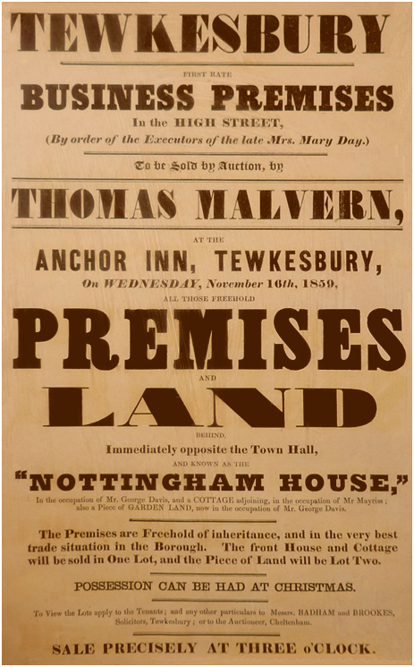 Tewkesbury : Poster advertising a sale of the Nottingham House [1859]