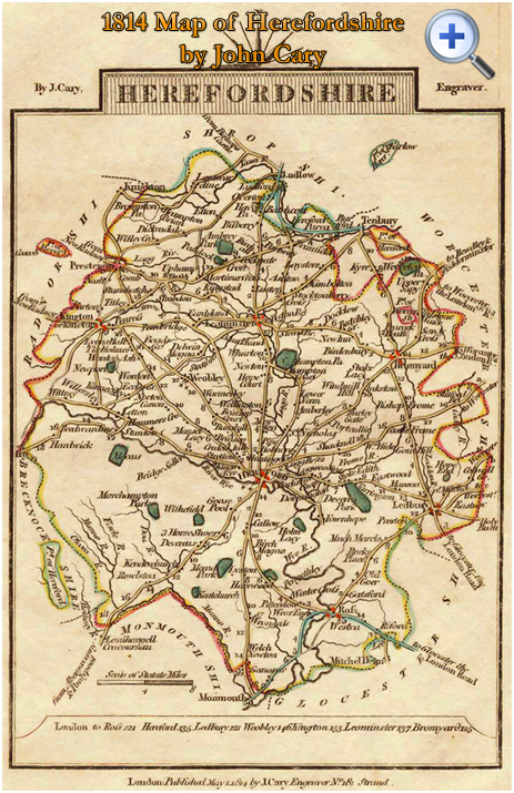 """County Map of Herefordshire by John Cary in his """"Traveller's Companion"""" [1814]"""