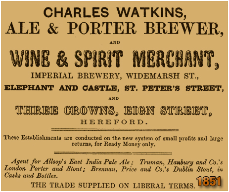 Advertisement by Charles Watkins of the Imperial Brewery at Hereford [1851]