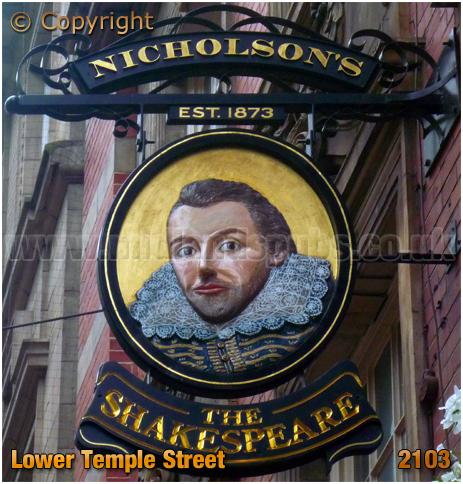 Birmingham : Inn Sign of The Shakespeare in Lower Temple Street [2013]