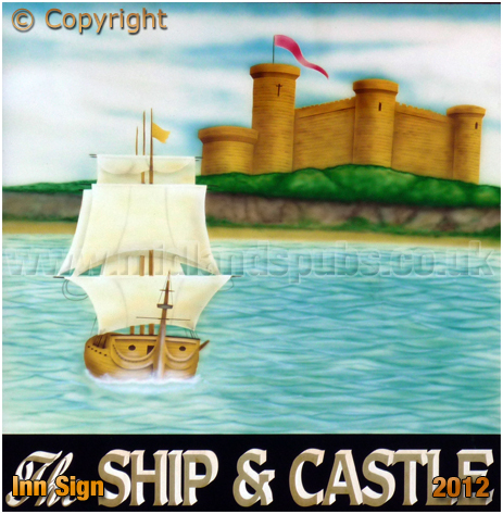 Isle of Wight : Inn Sign of the Ship and Castle at East Cowes [2012]