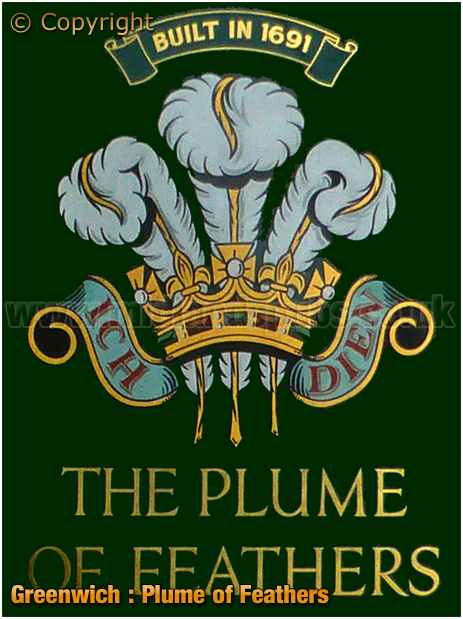 London : Inn Sign of the Plume of Feathers on Park Vista in Greenwich