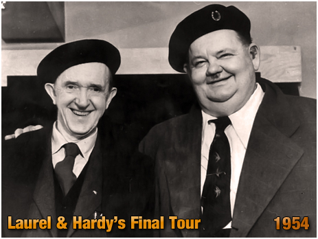 Laurel & Hardy during their final tour [1954]