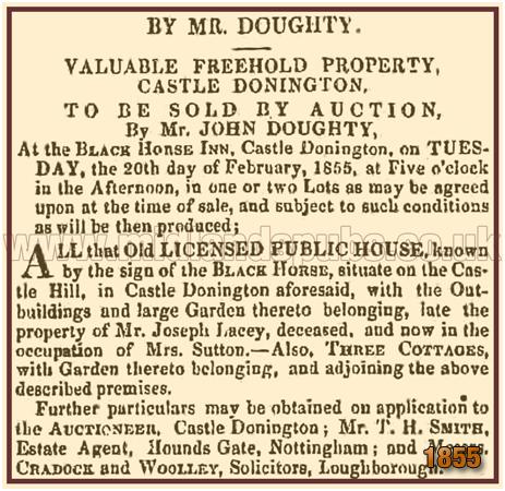 Castle Donington : Sale Notice for the Black Horse Inn [1855]