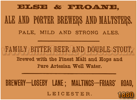 Advertisement for Else & Froane Brewery at Loseby Lane in Leicester