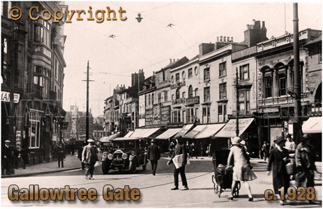 Gallowtree Gate in Leicester [c.1928]