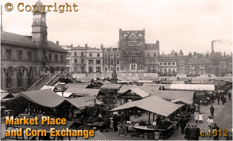 Leicester : Market Place and Corn Exchange [c.1912]