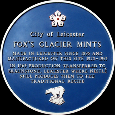 Plaque for Fox's Mint Factory in Oxford Street