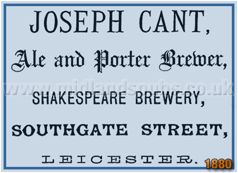 Advertisement for Joseph Cant at the Shakespeare Brewery in Southgate Street at Leicester