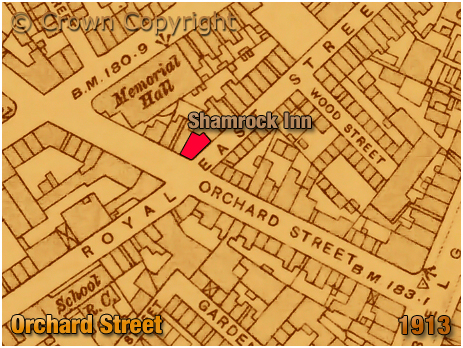 Leicester : Map showing the location of the Shamrock Inn on the corner of Orchard Street and Royal East Street in Leicester [1913]