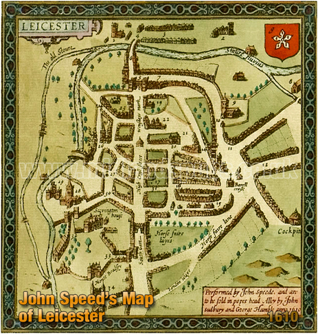 John Speed's Map of Leicester [1610]