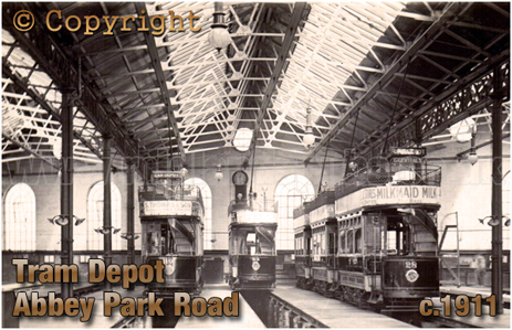 Leicester Corporation Tram Depot at Abbey Park Road [c.1911]