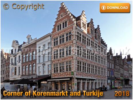 Corner of Korenmarkt and Turkije in Gent in Oost Vlanderen [2018]