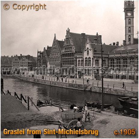 """Gent : Graslei from Sint""""Michielsbrug [c.1905]"""