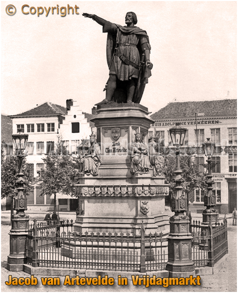 Gent : Statue of Jacob van Artevelde in Vrijdagmarkt [c.1910]