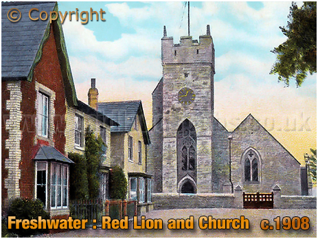 Freshwater : The Red Lion and All Saints' Church [c.1908]