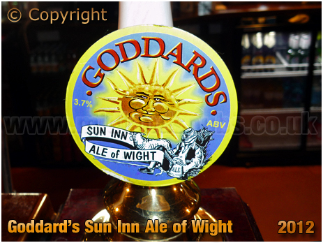Hulverstone : Goddard's Ale of Wight Pump Clip for the Sun Inn [2012]