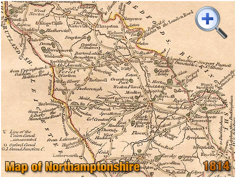 """1814 Map of Northamptonshire by John Cary in his """"Traveller's Companion"""""""