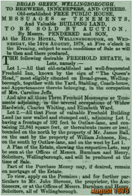 Wellingborough : Auction of the Queen's Head Inn on Broad Green [1878]