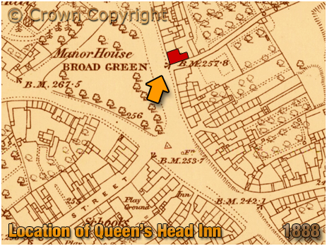Wellingborough : Map Extract Showing Location of the Queen's Head Inn on Broad Green [1888]