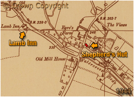 Ewelme : Map Showing the location of the Shepherd's Hut [1944]