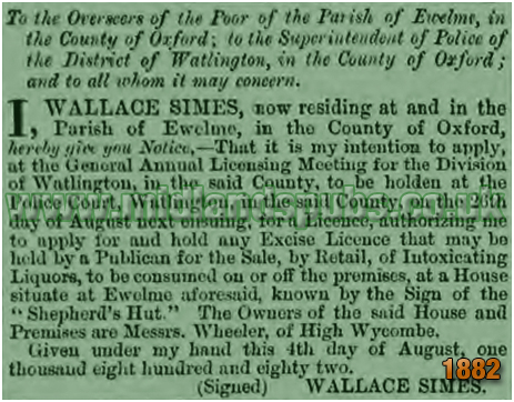 Ewelme : Licence Applicaton Notice by Wallace Simes of the Shepherd's Hut [1882]