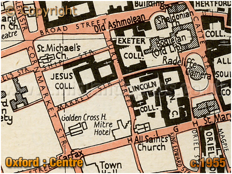 Oxford : Map of City Centre [c.1955[