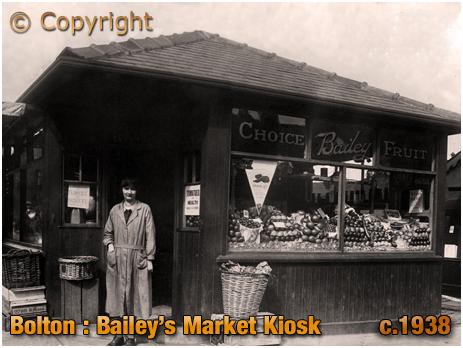 Lancashire : Bailey's Greengrocery Kiosk at Bolton Market [c.1938]